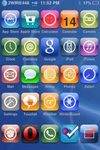 A jailbroken iPhone homescreen