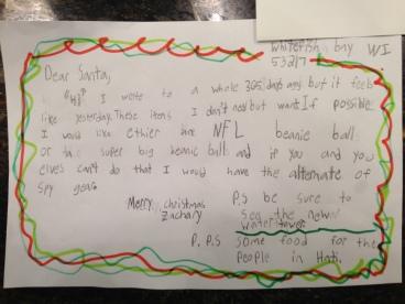 Zachary's letter